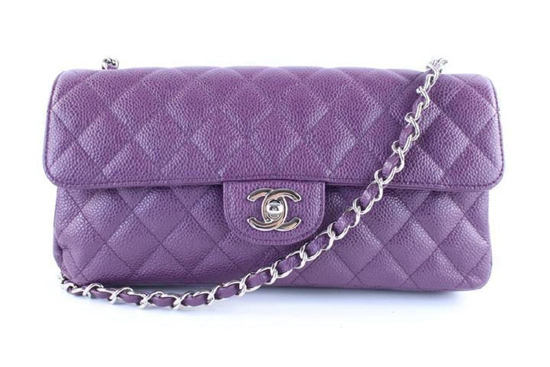 Chanel Purple Caviar Leather East West Classic Flap