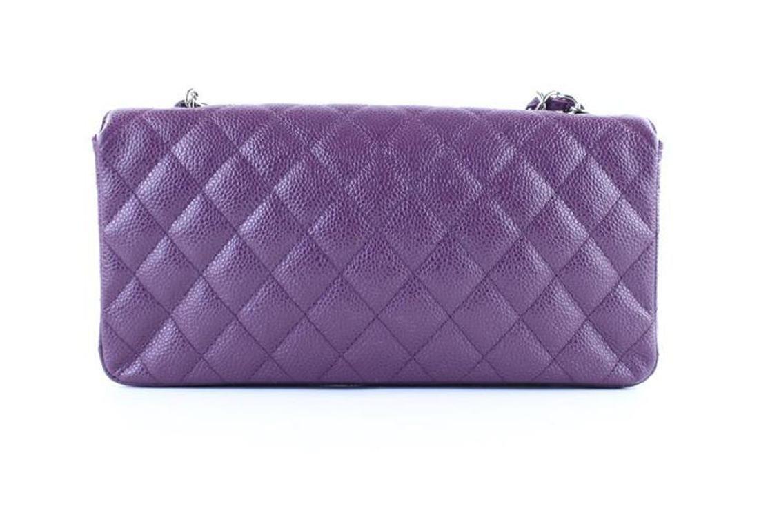 Chanel Purple Caviar Leather East West Classic Flap - 2