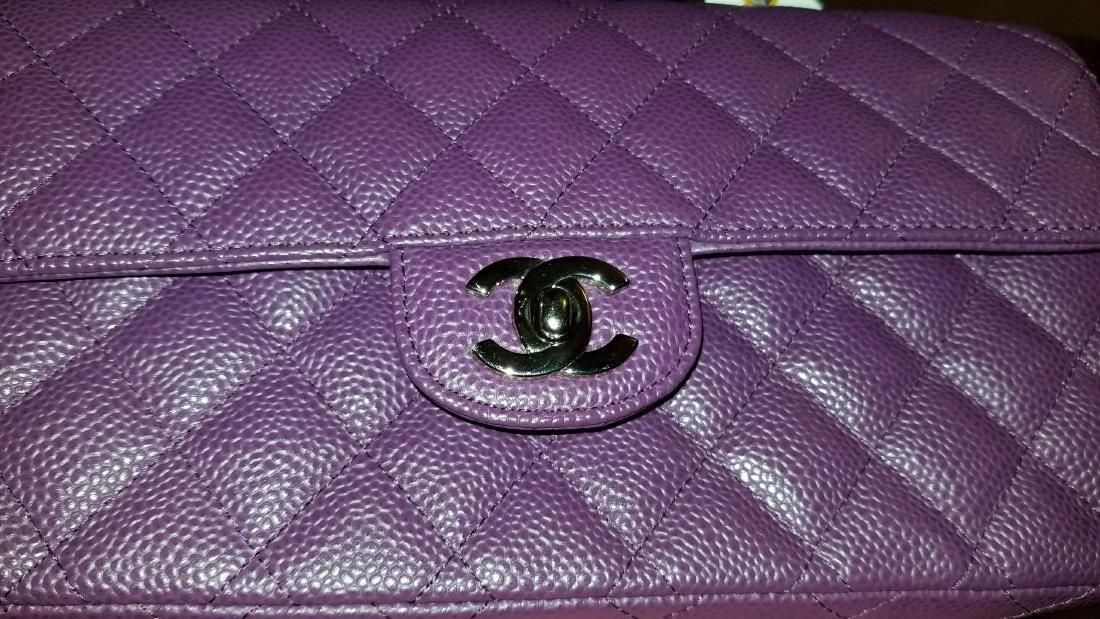 Chanel Purple Caviar Leather East West Classic Flap - 3