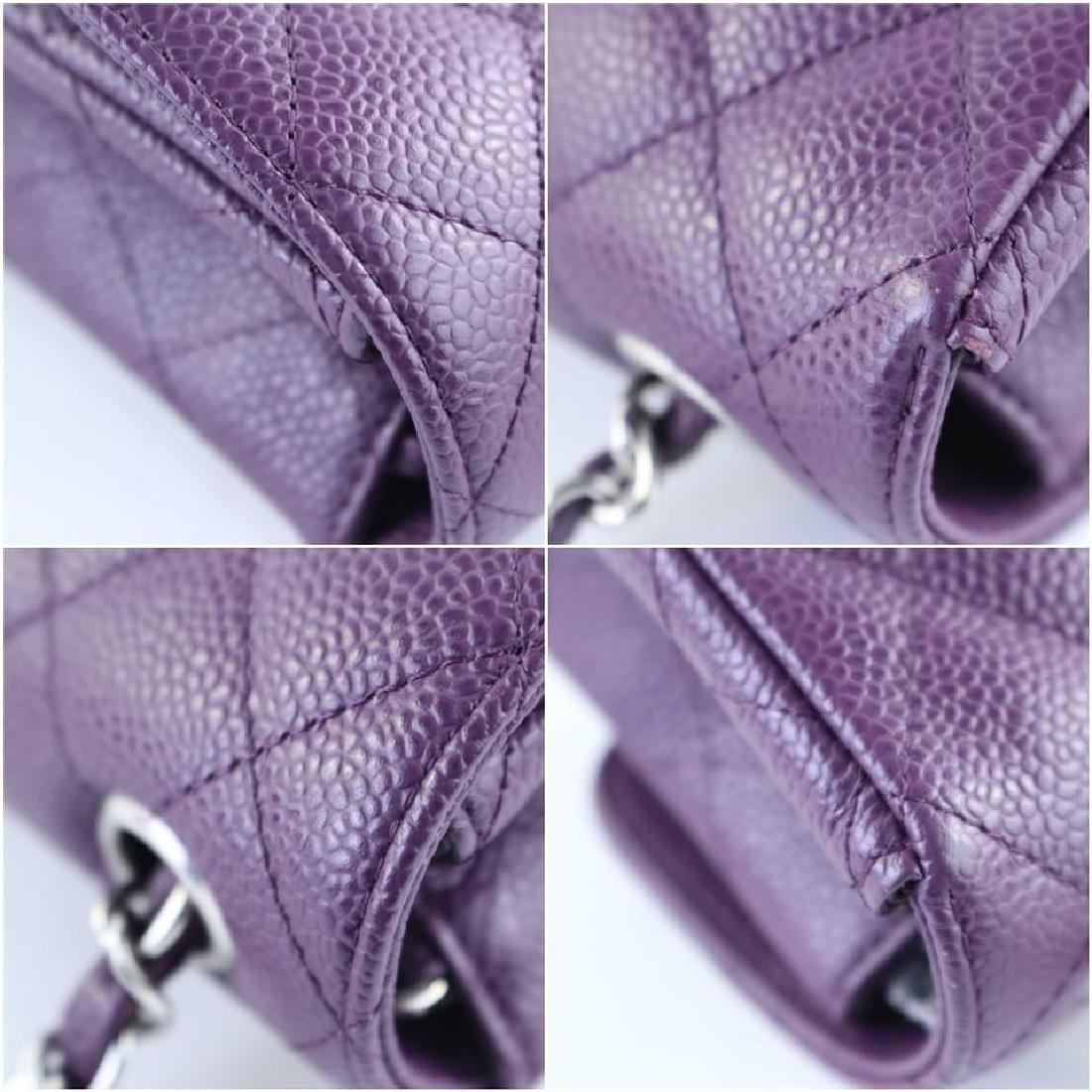 Chanel Purple Caviar Leather East West Classic Flap - 6