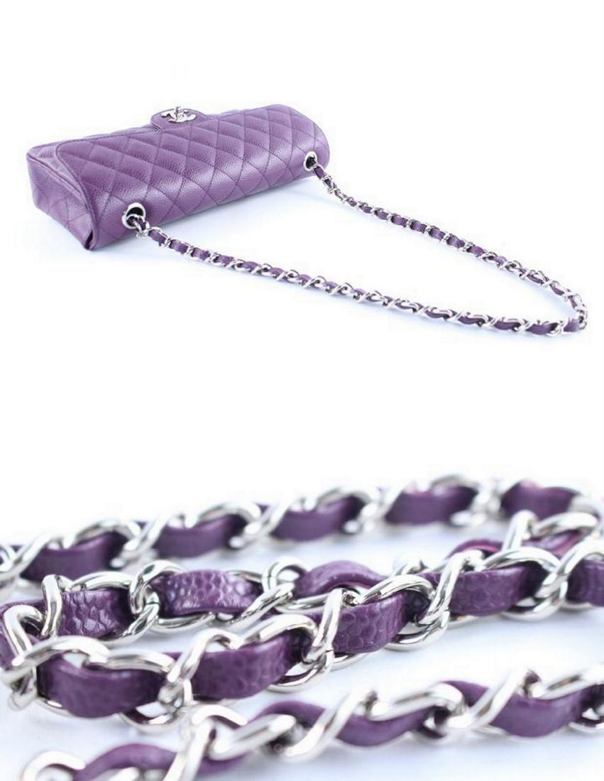 Chanel Purple Caviar Leather East West Classic Flap - 8