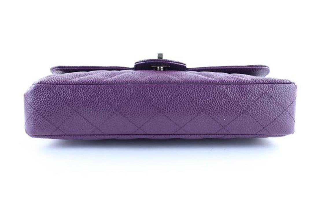 Chanel Purple Caviar Leather East West Classic Flap - 9