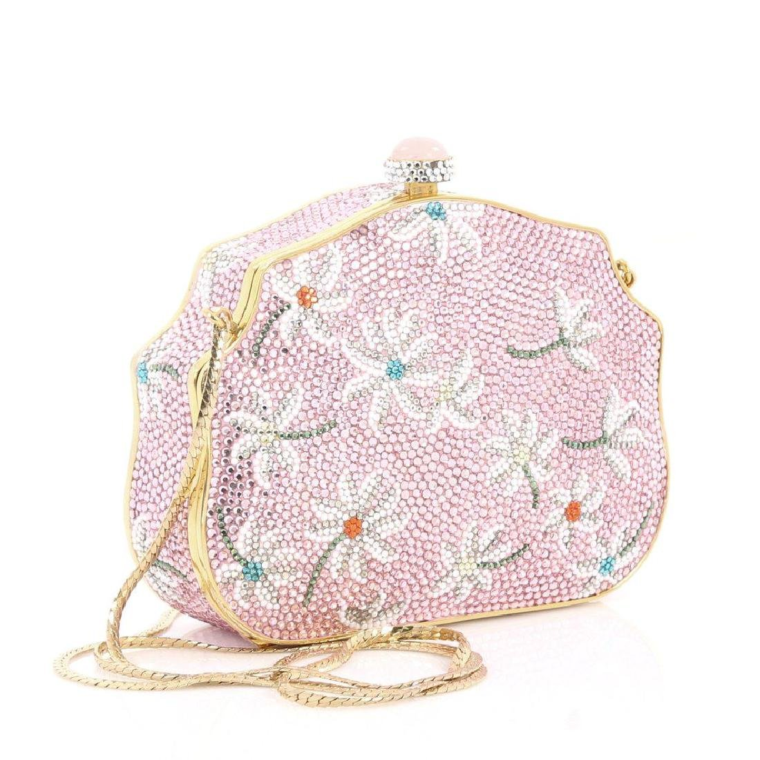 Judith Leiber Crystal Floral Minaudiere Chain Bag