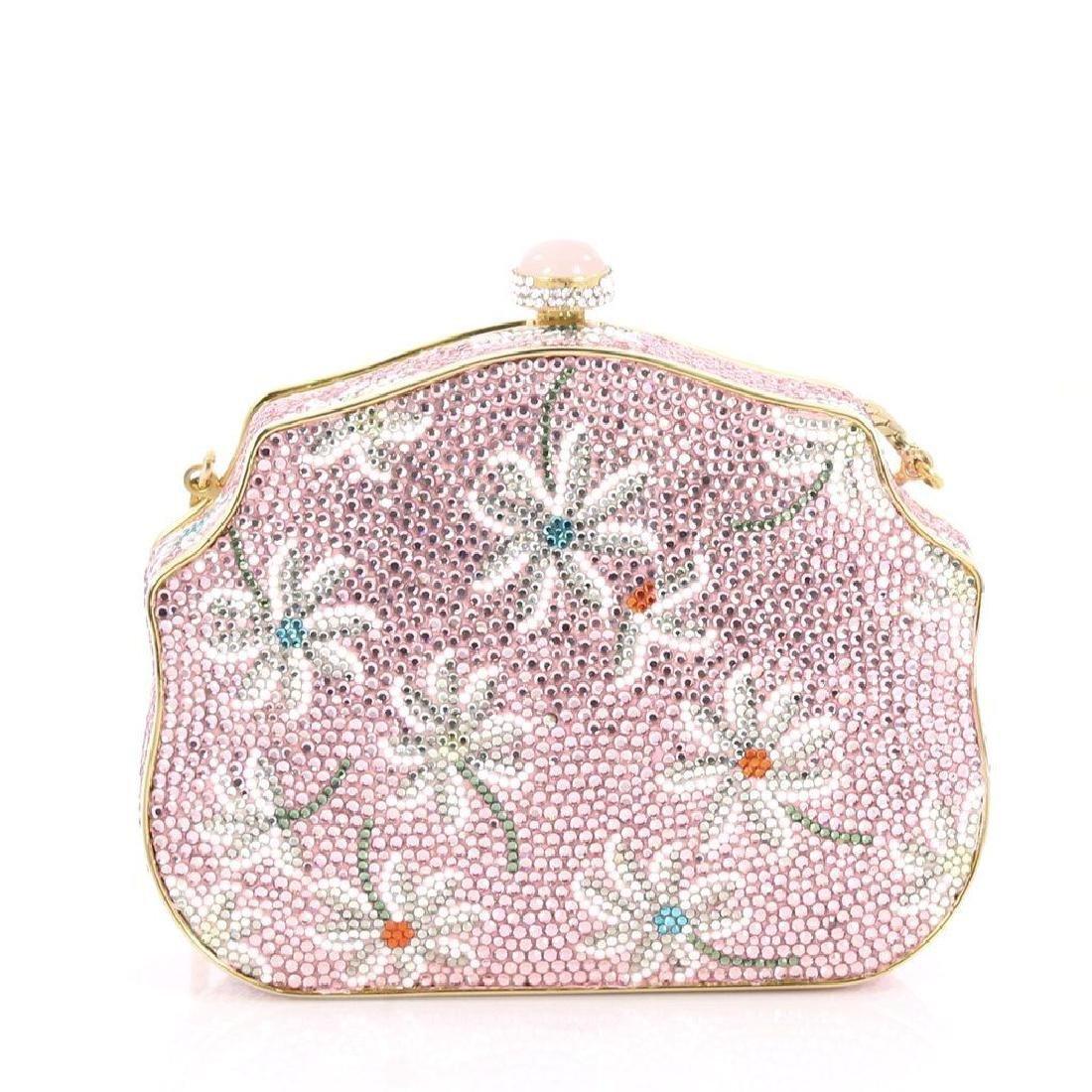 Judith Leiber Crystal Floral Minaudiere Chain Bag - 2