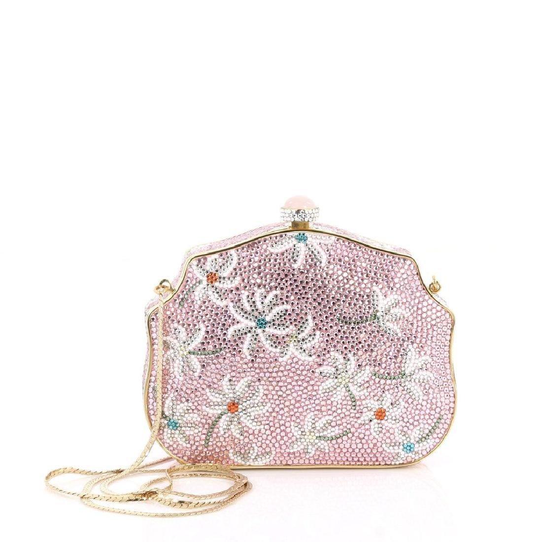 Judith Leiber Crystal Floral Minaudiere Chain Bag - 3