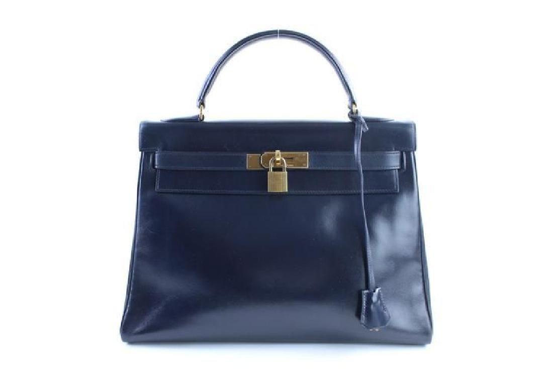 Hermes Vintage Kelly 32 Navy Blue Leather Satchel Bag