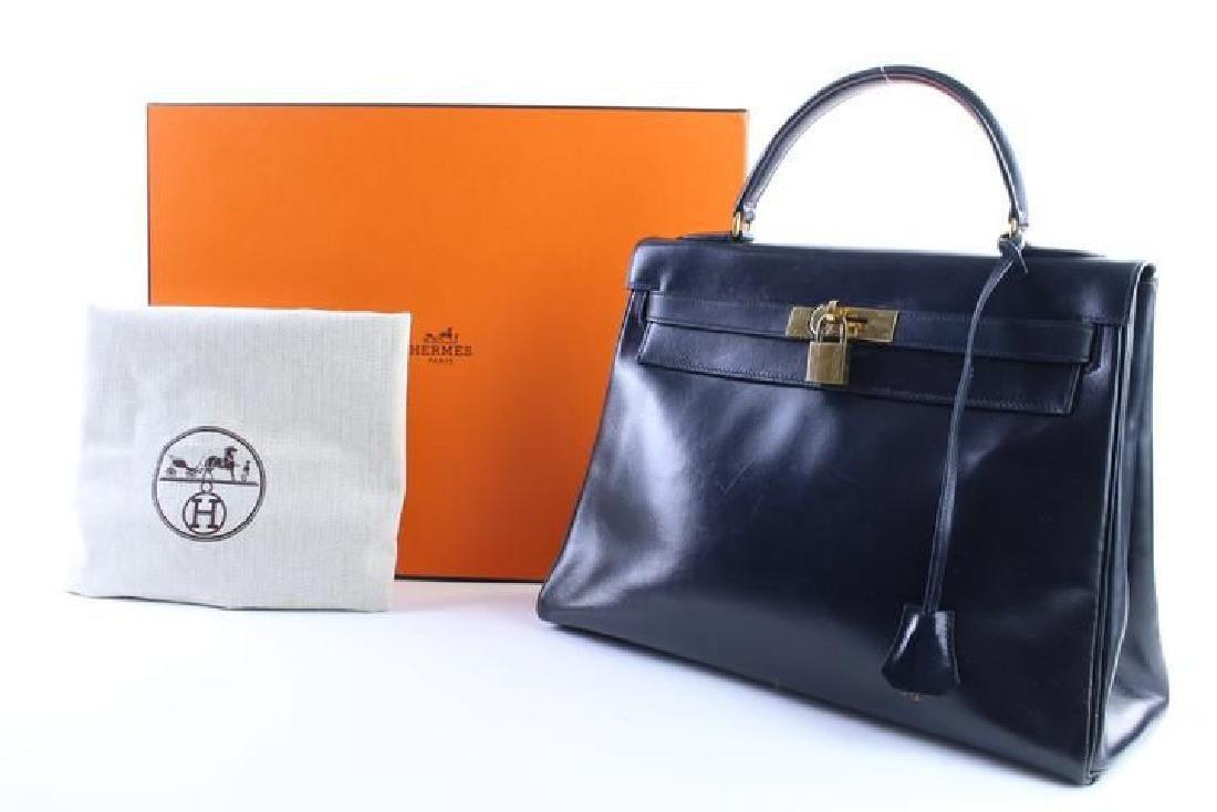 Hermes Vintage Kelly 32 Navy Blue Leather Satchel Bag - 2