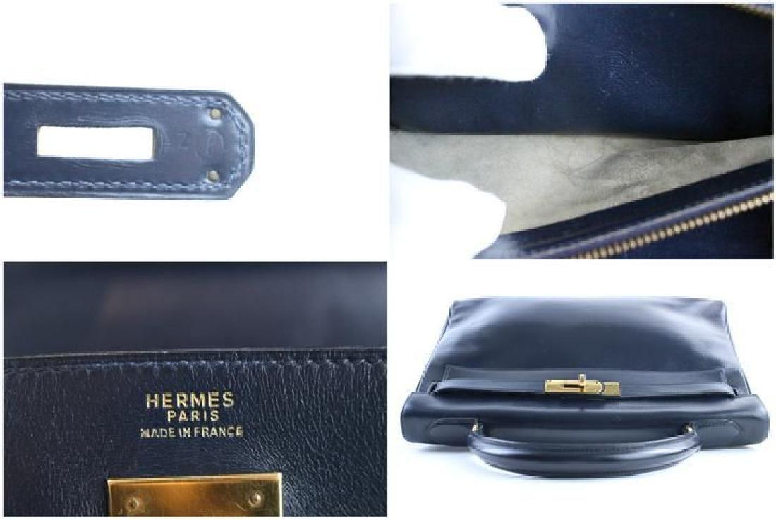 Hermes Vintage Kelly 32 Navy Blue Leather Satchel Bag - 3