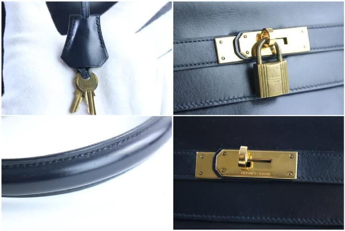 Hermes Vintage Kelly 32 Navy Blue Leather Satchel Bag - 5