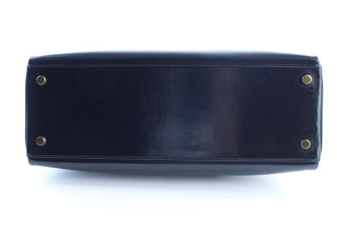 Hermes Vintage Kelly 32 Navy Blue Leather Satchel Bag - 7