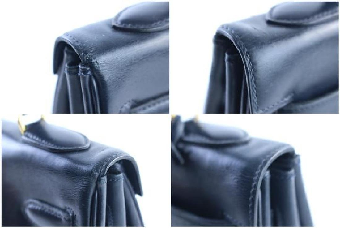 Hermes Vintage Kelly 32 Navy Blue Leather Satchel Bag - 9