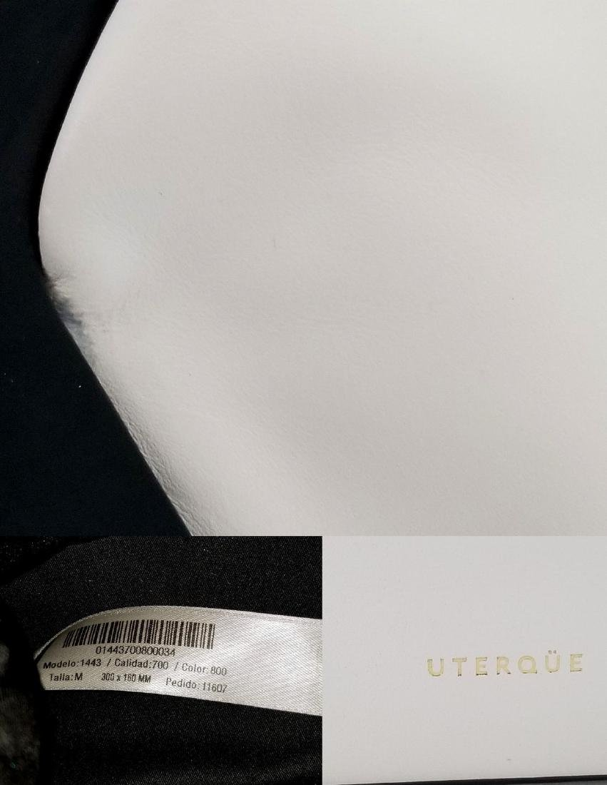RARE Uterque Clutch Leather Bag White Black from Spain - 10