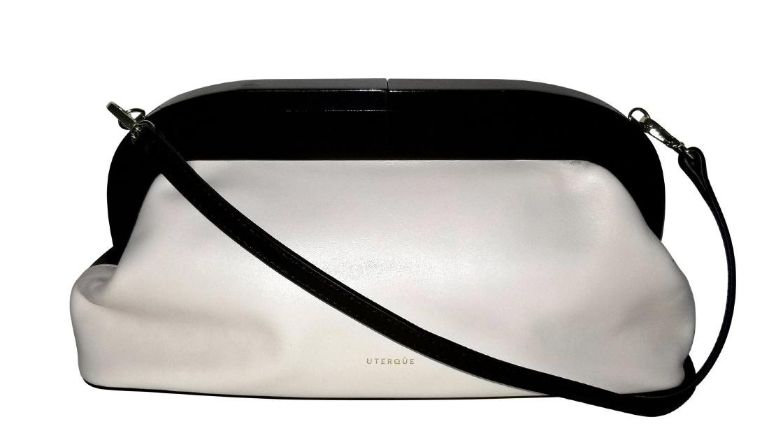 RARE Uterque Clutch Leather Bag White Black from Spain