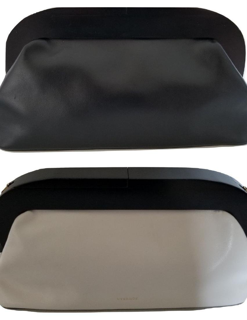 RARE Uterque Clutch Leather Bag White Black from Spain - 5