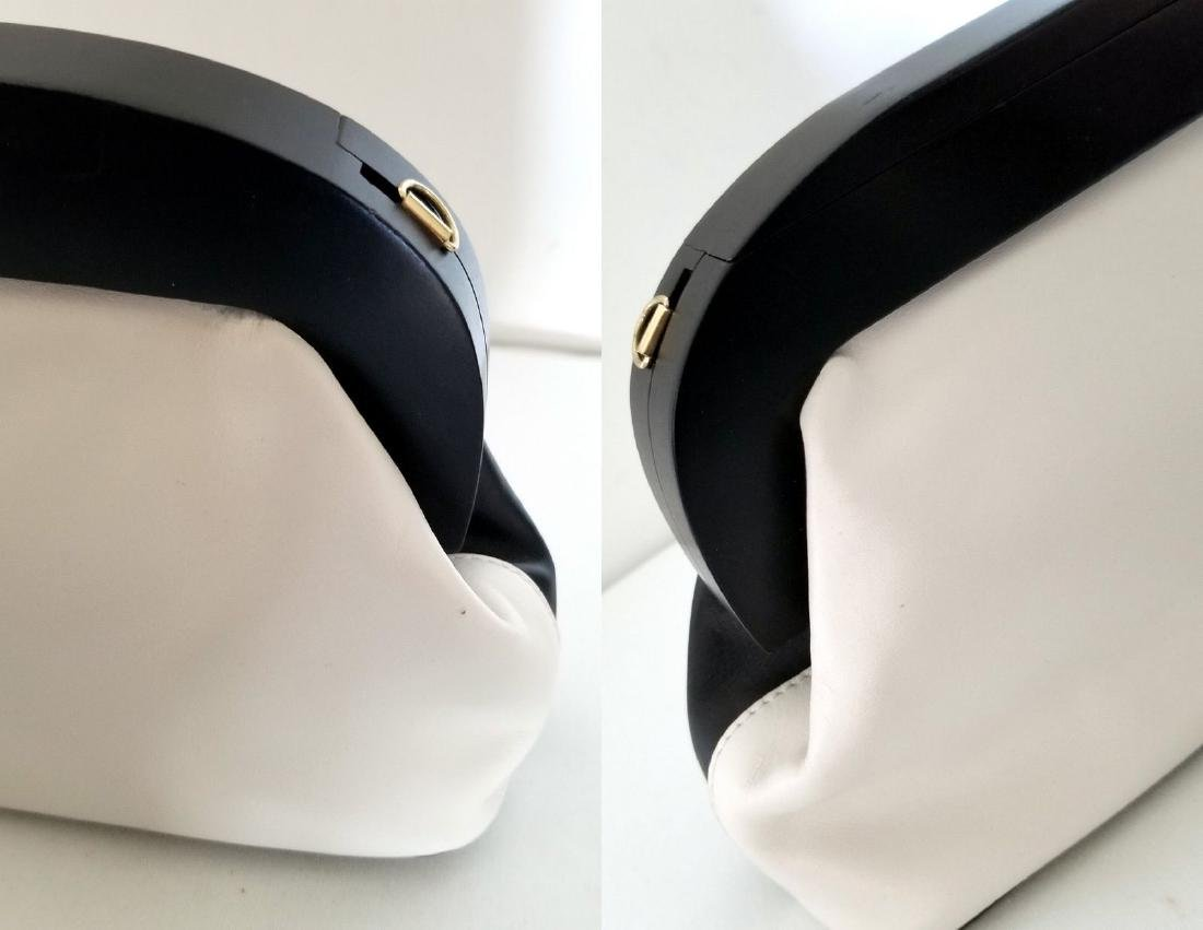 RARE Uterque Clutch Leather Bag White Black from Spain - 8