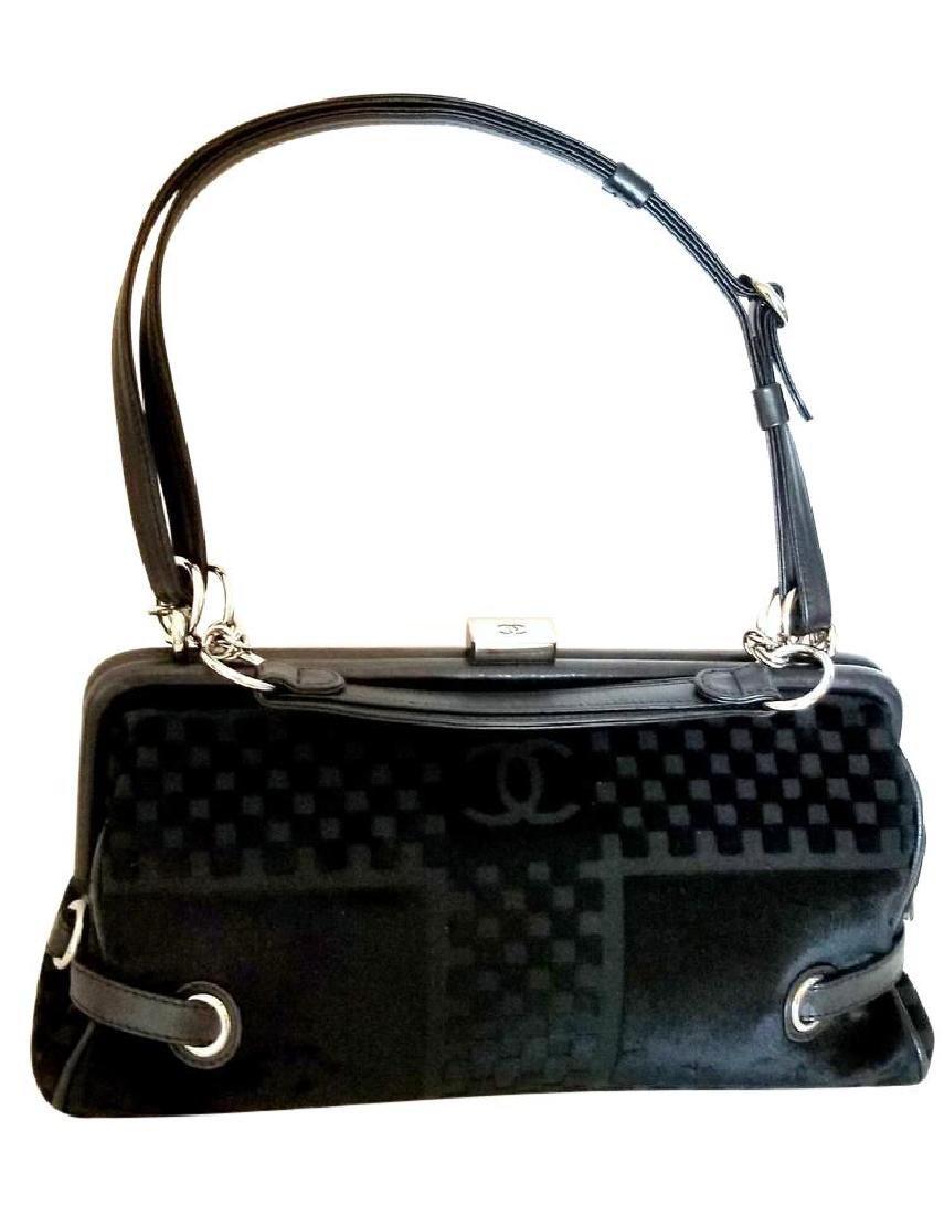 Chanel East West Velvet Velour Black Shoulder Bag Dual