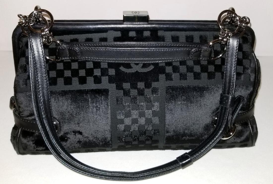 Chanel East West Velvet Velour Black Shoulder Bag Dual - 2