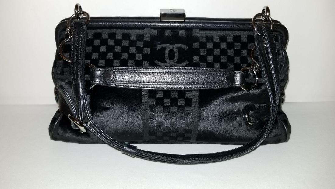 Chanel East West Velvet Velour Black Shoulder Bag Dual - 4