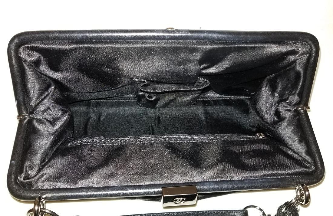 Chanel East West Velvet Velour Black Shoulder Bag Dual - 5