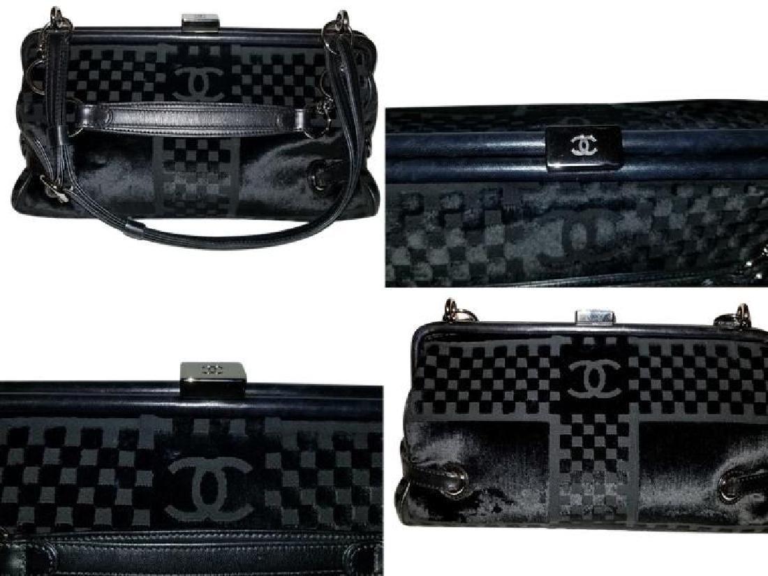 Chanel East West Velvet Velour Black Shoulder Bag Dual - 6