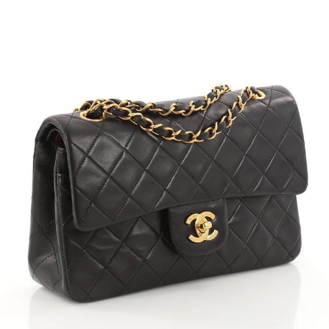 Chanel Double Flap Classic Shoulder Bag Black Lambskin
