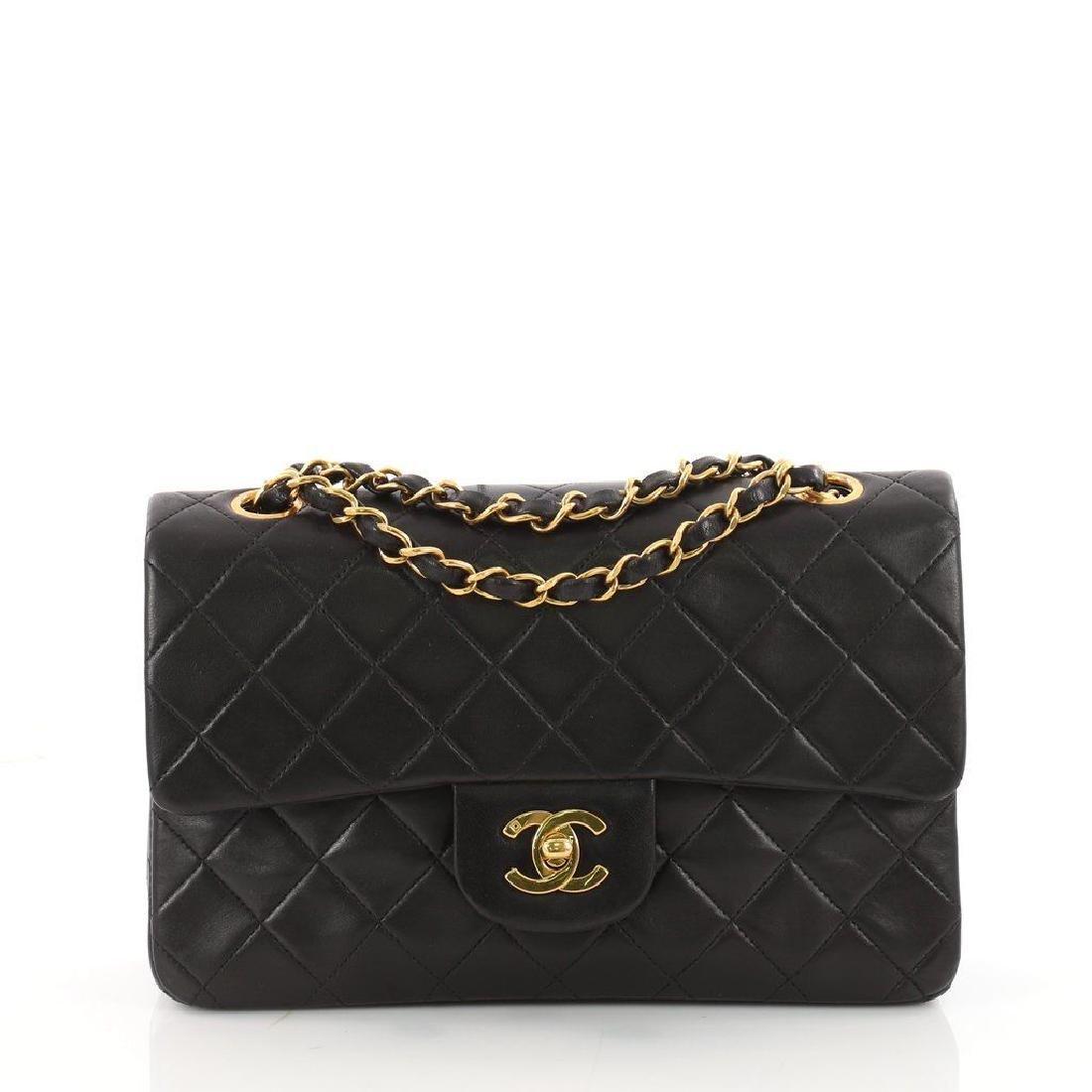 Chanel Double Flap Classic Shoulder Bag Black Lambskin - 2