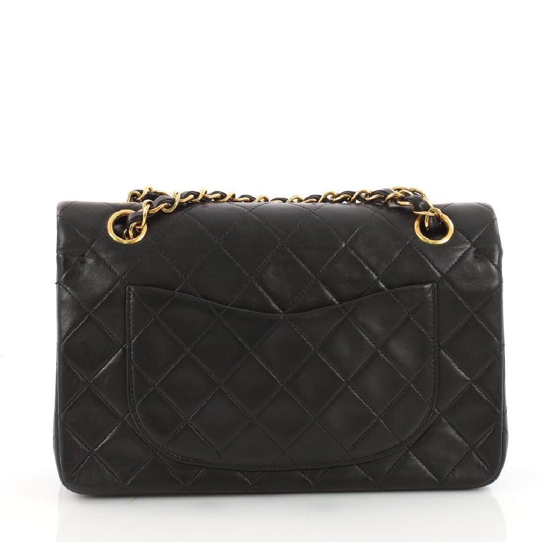 Chanel Double Flap Classic Shoulder Bag Black Lambskin - 3