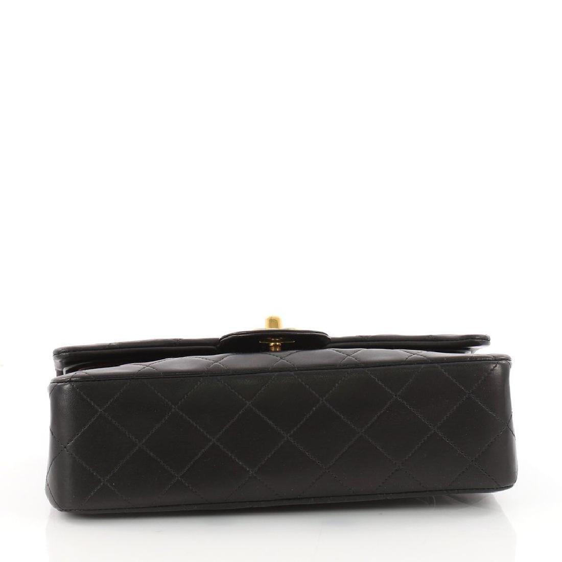 Chanel Double Flap Classic Shoulder Bag Black Lambskin - 4