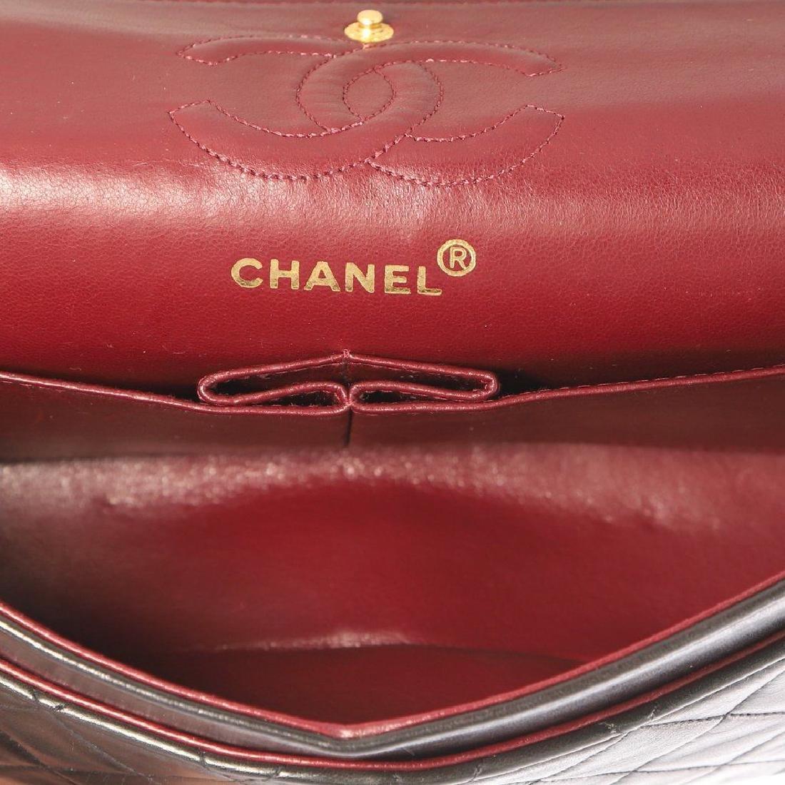 Chanel Double Flap Classic Shoulder Bag Black Lambskin - 5