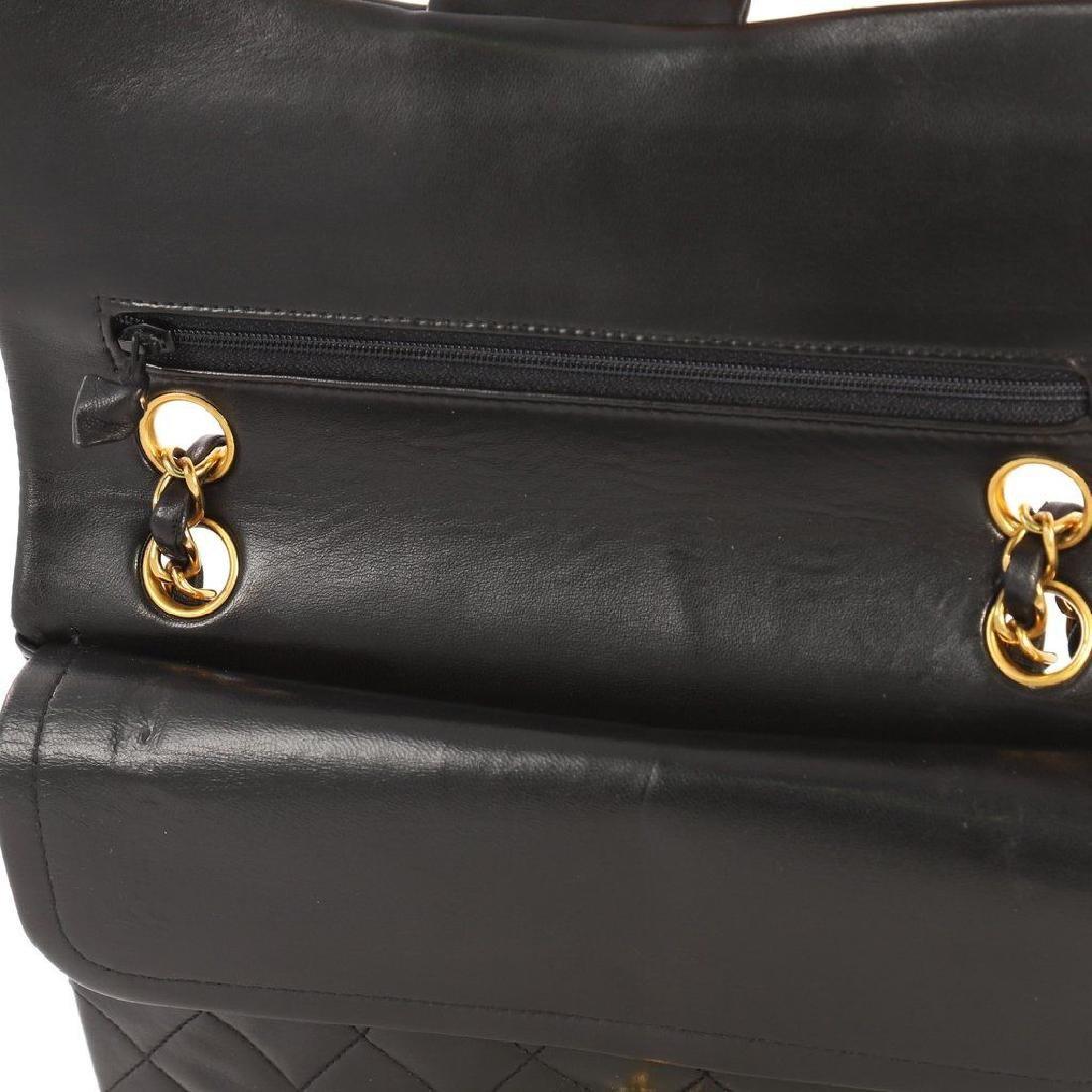 Chanel Double Flap Classic Shoulder Bag Black Lambskin - 6