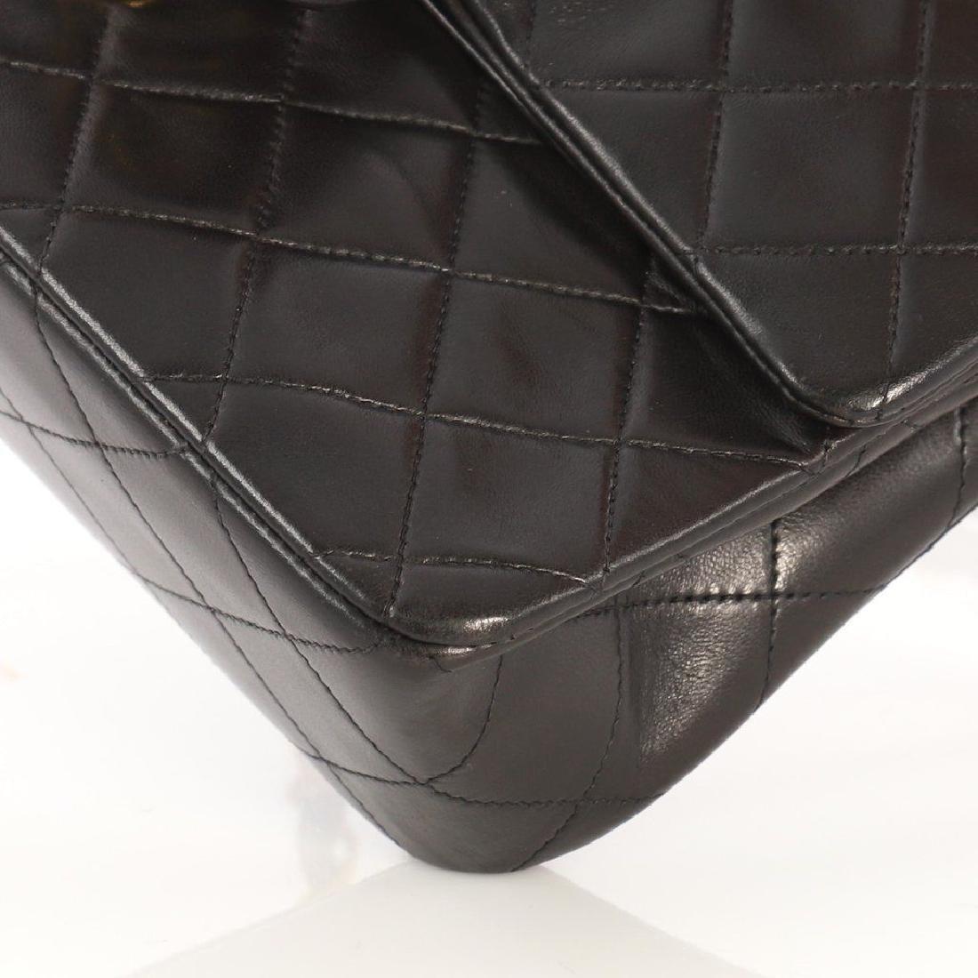 Chanel Double Flap Classic Shoulder Bag Black Lambskin - 7