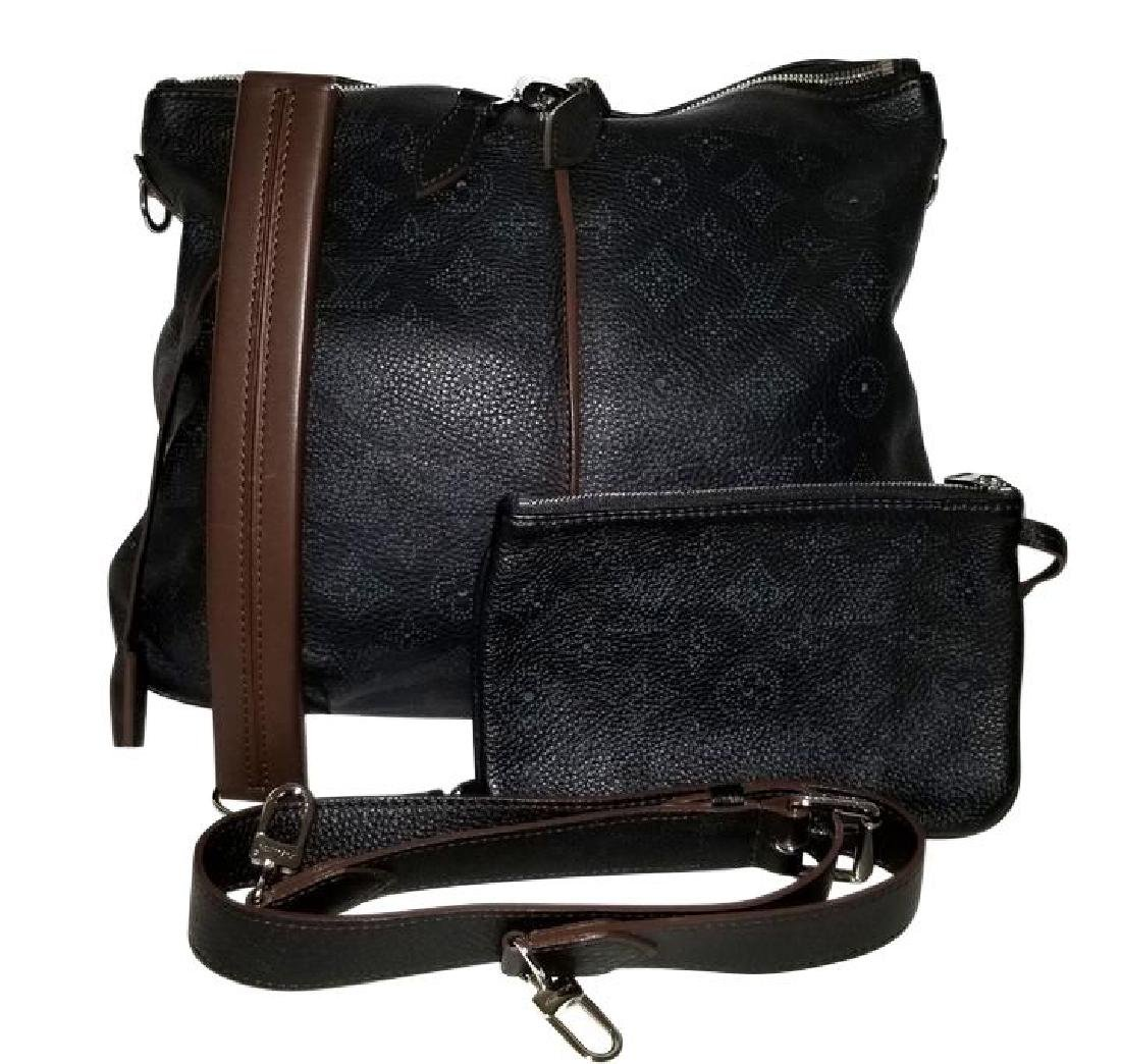 Louis Vuitton Selene Mahina Handbag Pm Black Brown