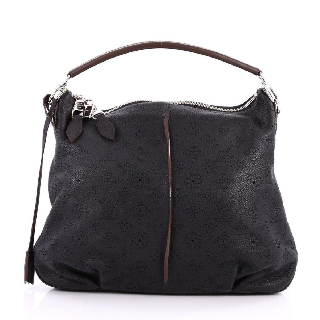 Louis Vuitton Selene Mahina Handbag Pm Black Brown - 3