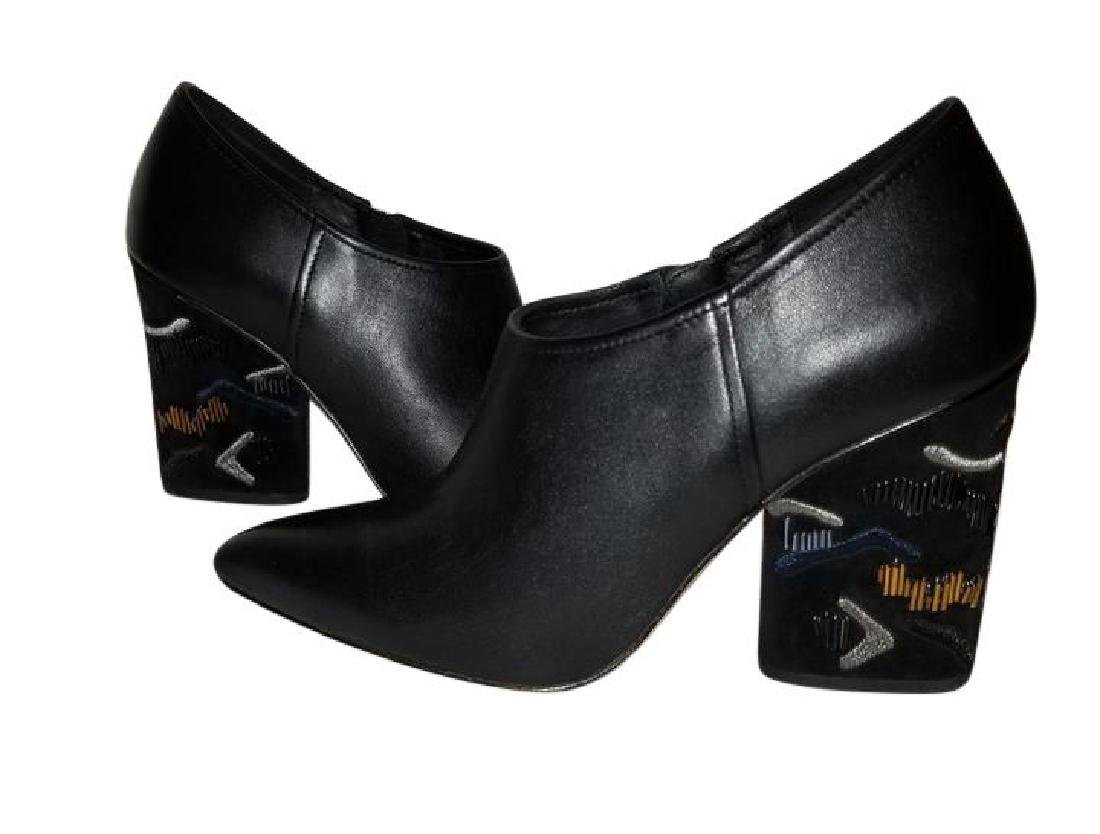 Donald J Pliner Black Leather Chunky Heel Booties