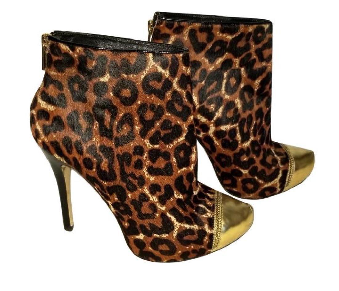 Michael Kors Dyed Fur Hair Gold Cynthia Booties Shoes - 2