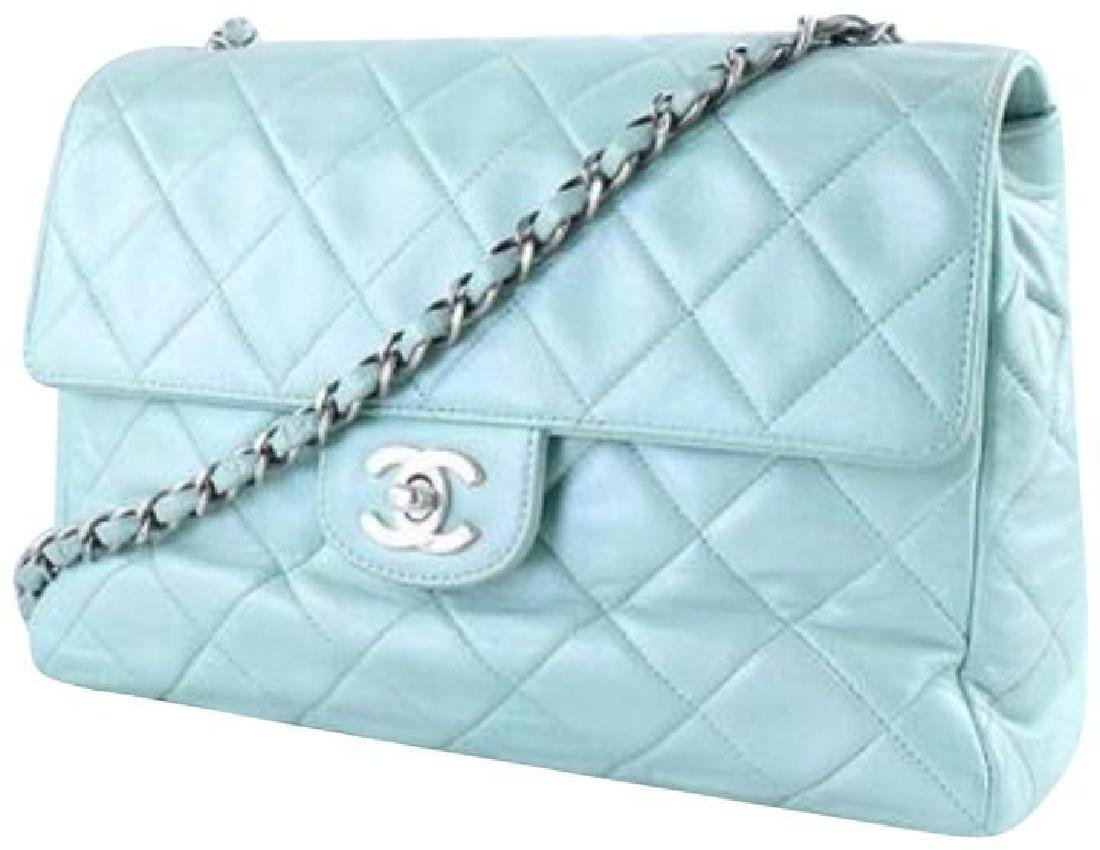 Chanel Classic Flap Iridescent Mint Blue Green Quilted