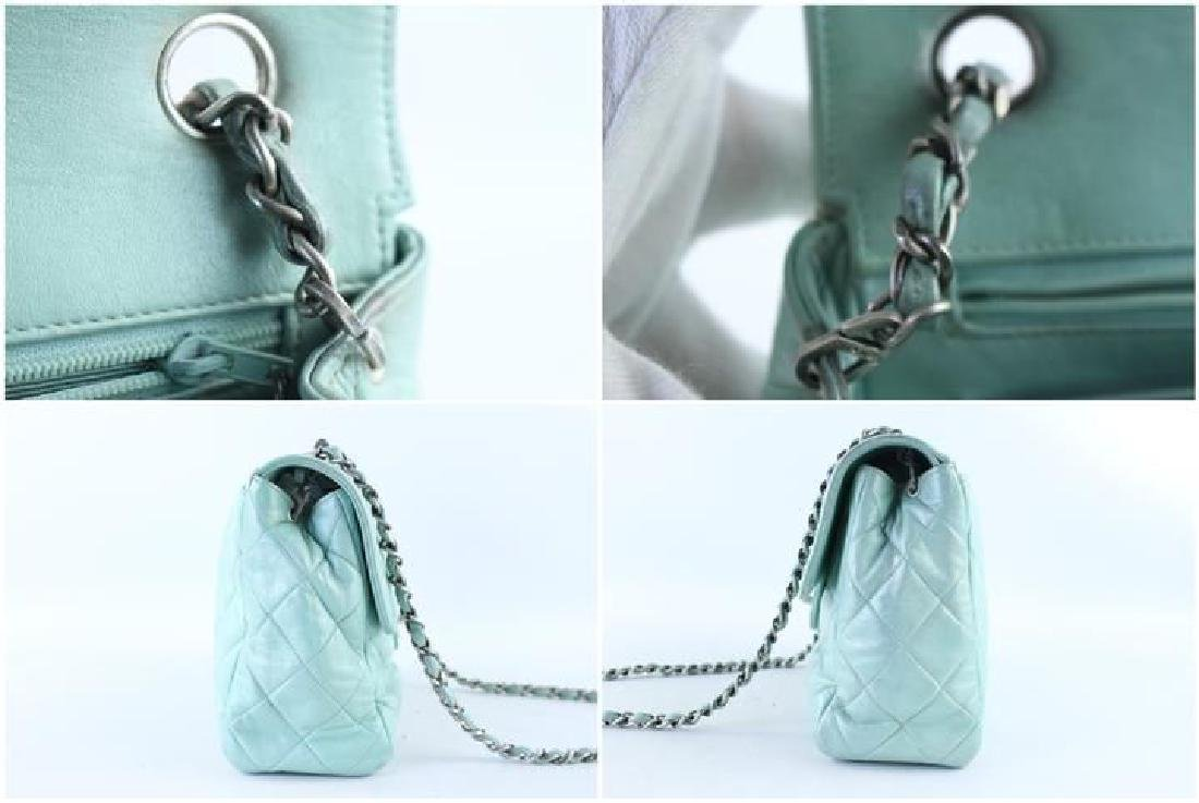Chanel Classic Flap Iridescent Mint Blue Green Quilted - 8