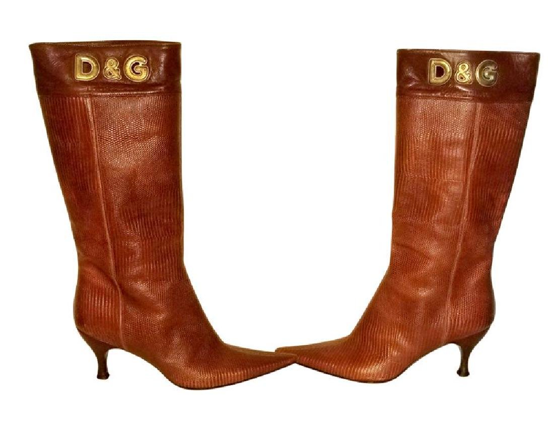 Dolce and Gabbana Vintage Snakeskin Leather Boots - 2