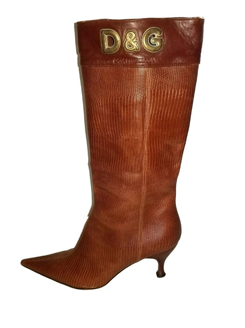 Dolce and Gabbana Vintage Snakeskin Leather Boots - 4