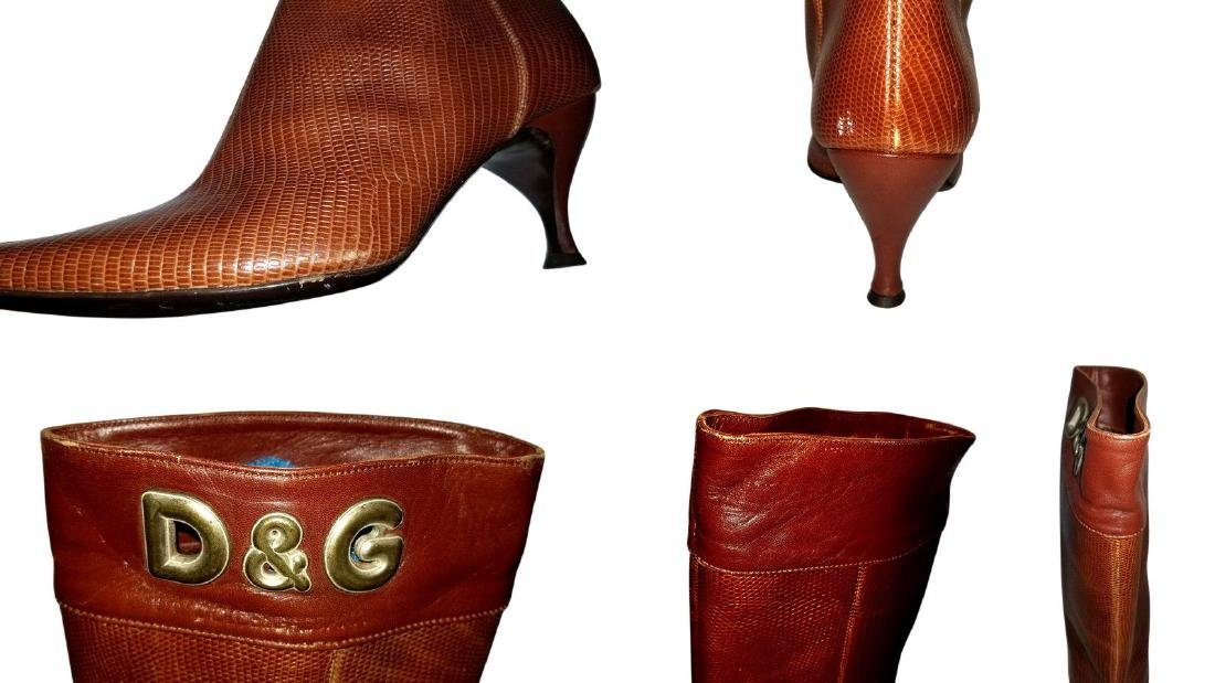 Dolce and Gabbana Vintage Snakeskin Leather Boots - 8