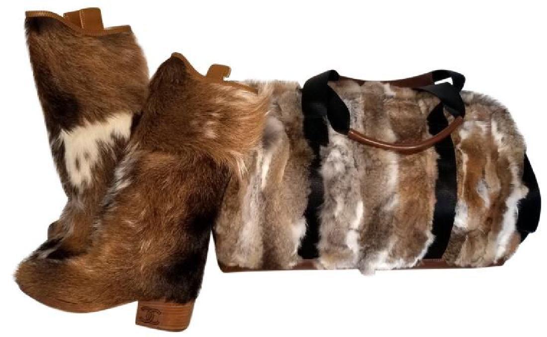 Adrienne Landau Rare Fur Duffle Bag with Cross Body - 10