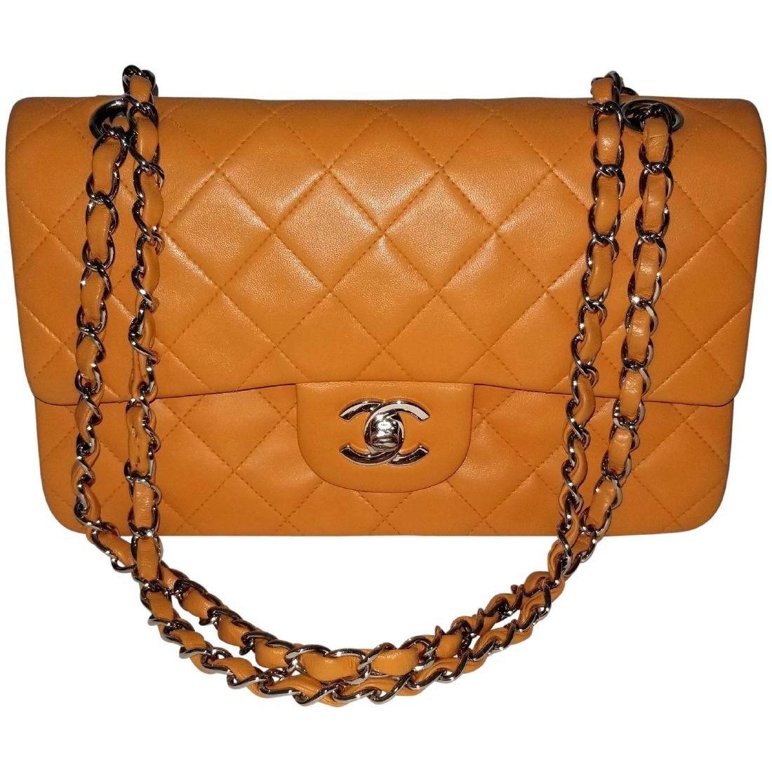 Authentic Vintage Chanel Classic Double Flap Orange