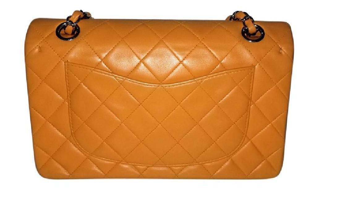 Authentic Vintage Chanel Classic Double Flap Orange - 2
