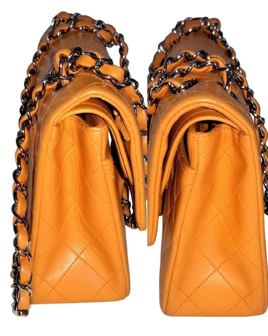 Authentic Vintage Chanel Classic Double Flap Orange - 4