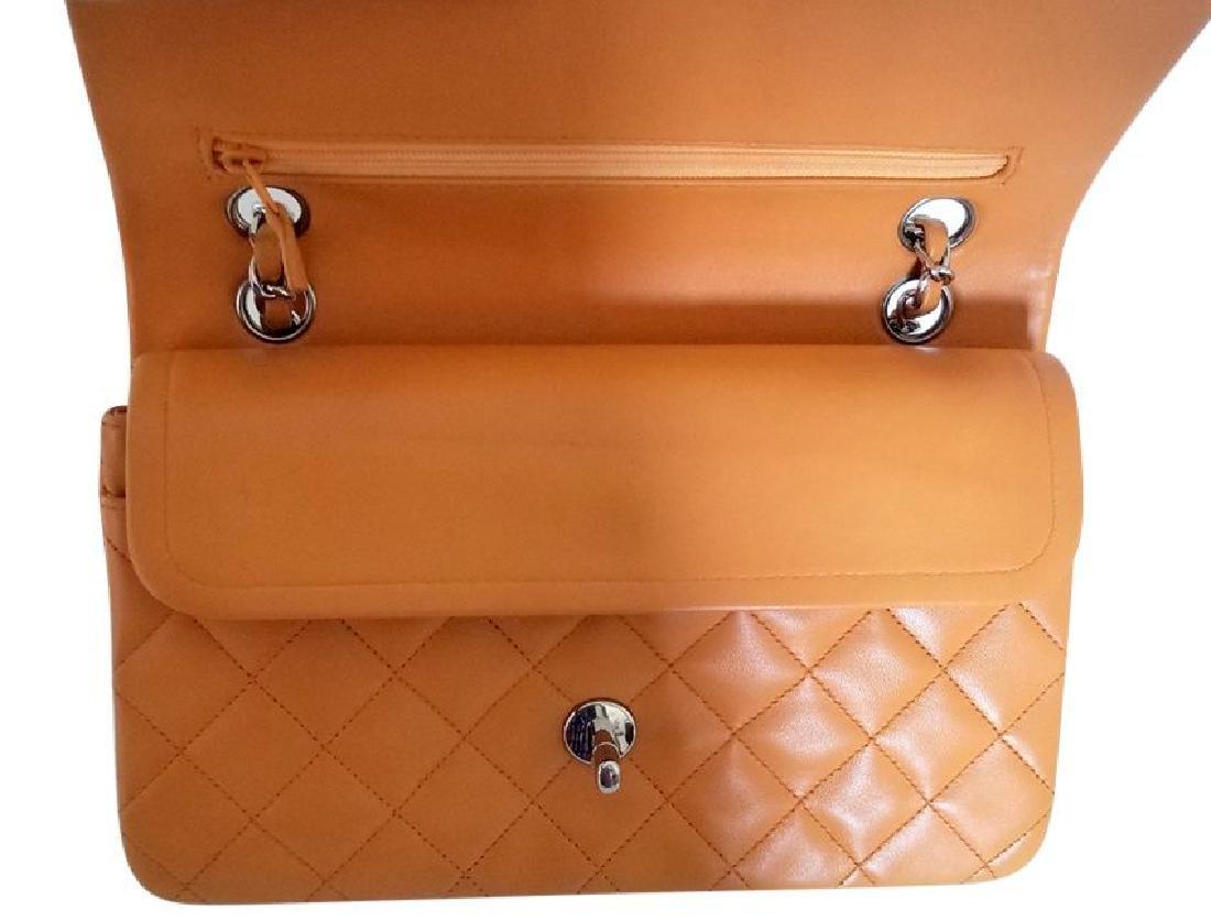 Authentic Vintage Chanel Classic Double Flap Orange - 5