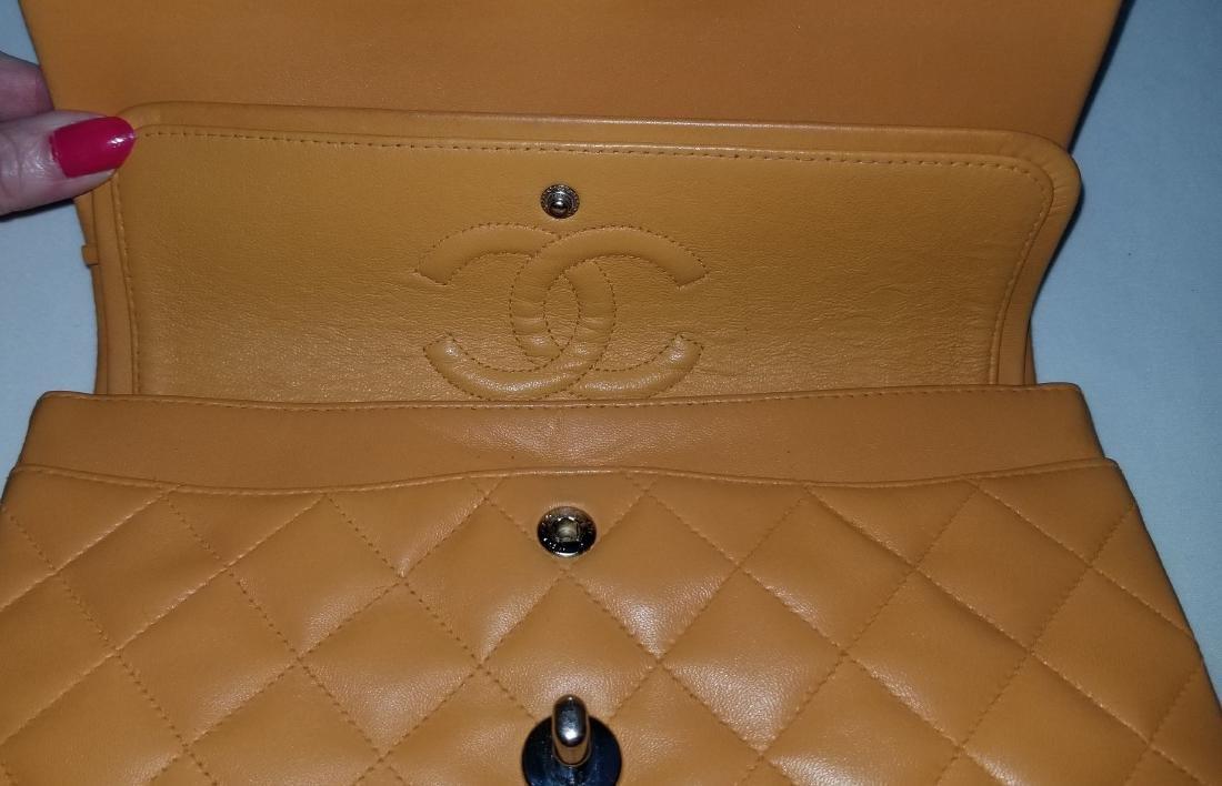 Authentic Vintage Chanel Classic Double Flap Orange - 6