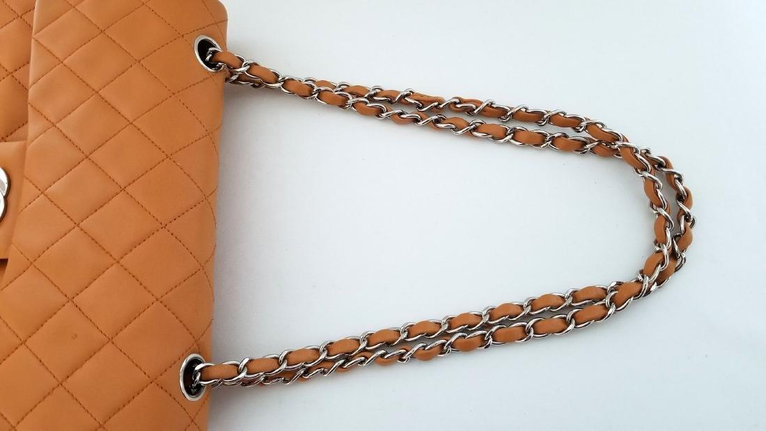 Authentic Vintage Chanel Classic Double Flap Orange - 8