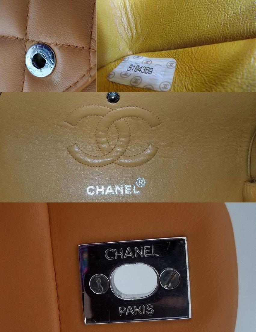Authentic Vintage Chanel Classic Double Flap Orange - 9