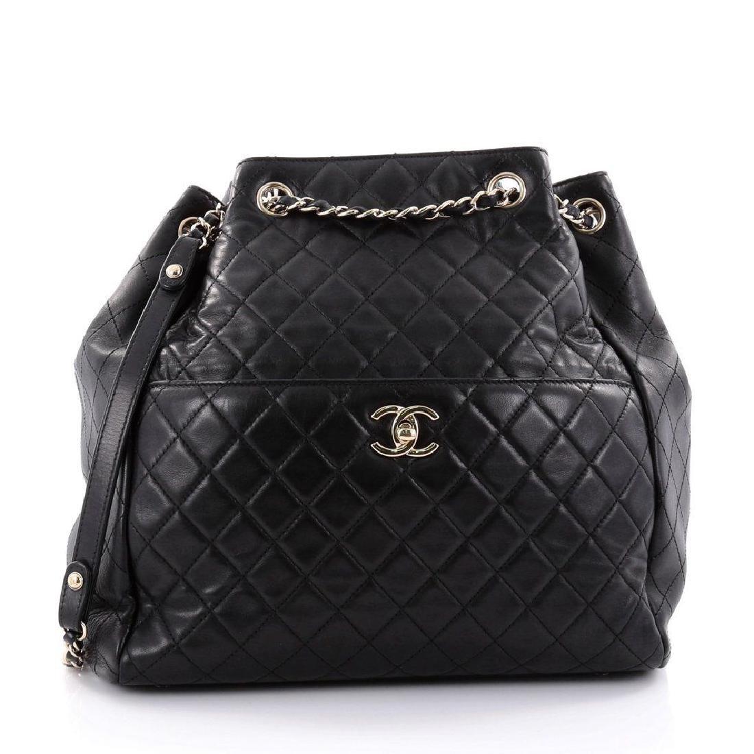 Chanel Lambskin Classic CC Drawstring Black Bucket Bag
