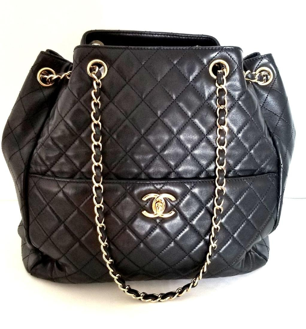 Chanel Lambskin Classic CC Drawstring Black Bucket Bag - 2